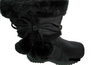 Team-Honey-10-Girl-Faux-Wedge-Mid-Calf-Black-Leather-Winter-Boots-Toddler-Size-6