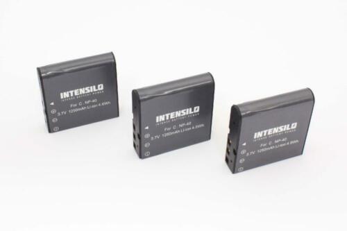 Batería 3x intensilo 1250mAh Para Casio NP-40 NP-40DBA NP-40DCA PAC-0040