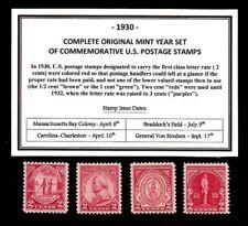 1930 COMPLETE COMMEMORATIVE YEAR SET OF MINT -MNH- VINTAGE U.S. POSTAGE STAMPS