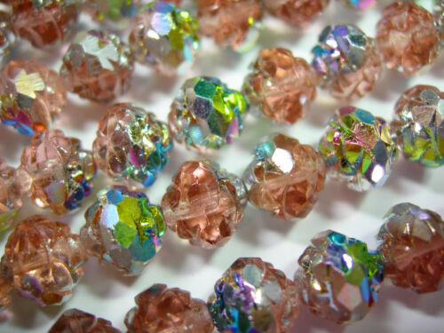 25  7x8mm Czech Glass Rosealine Vitrial Rosebud beads