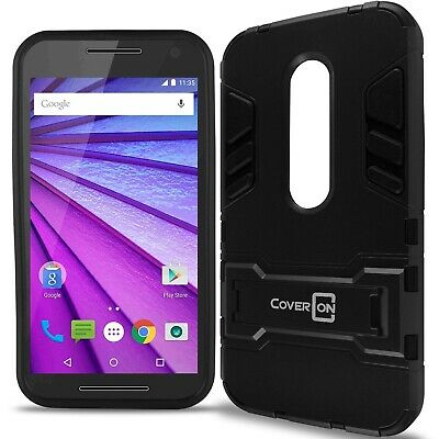 Faithful For Motorola Moto G 3rd Gen 2015 Case Armor Kickstand Slim Hard Cover Black Firm In Structure