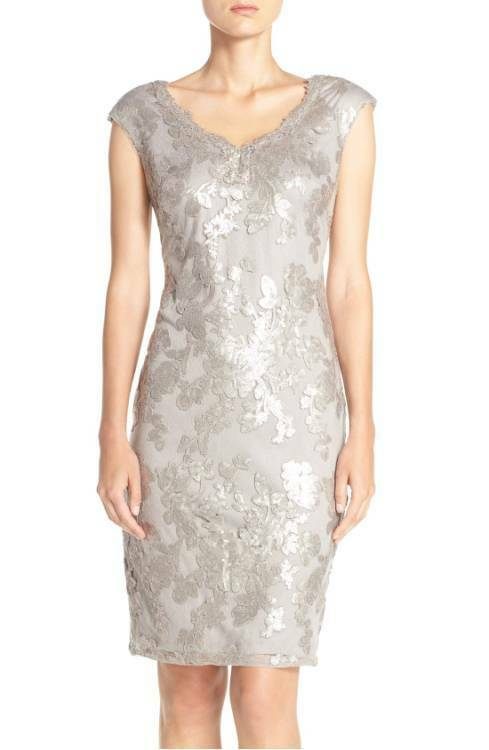 ADRIANNA PAPELL SCALLOPED SEQUIN LACE SHEATH DRESS sz 6
