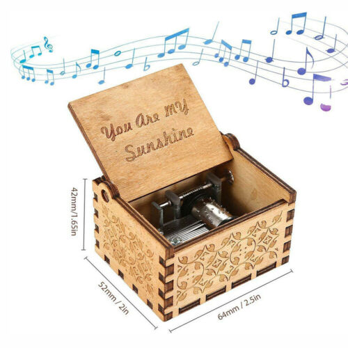 You Are My Sunshine Engraved Toy Kid Gift Wooden Music Box Mom//Dad To Daughter