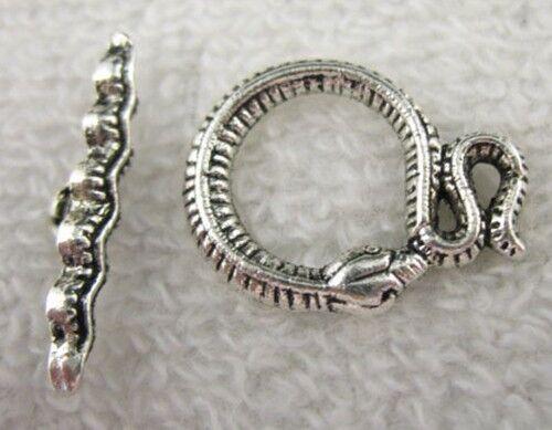 30sets Tibetan Silver snake toggle clasps FC8498