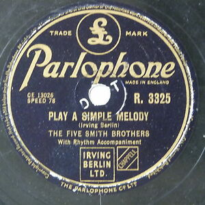 78-record-in-frame-PLAY-A-SIMPLE-MELODY-SILVER-DOLLAR-five-smith-brothers