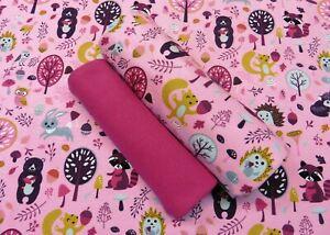 Stoffpaket-Paula-rosa-Kinderstoff-Jersey-Waldtiere-plus-Buendchenstoff-Maedchen