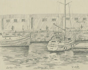 John A. Case - C. 1992 Graphite Drawing, Four Harboured Boat Studies