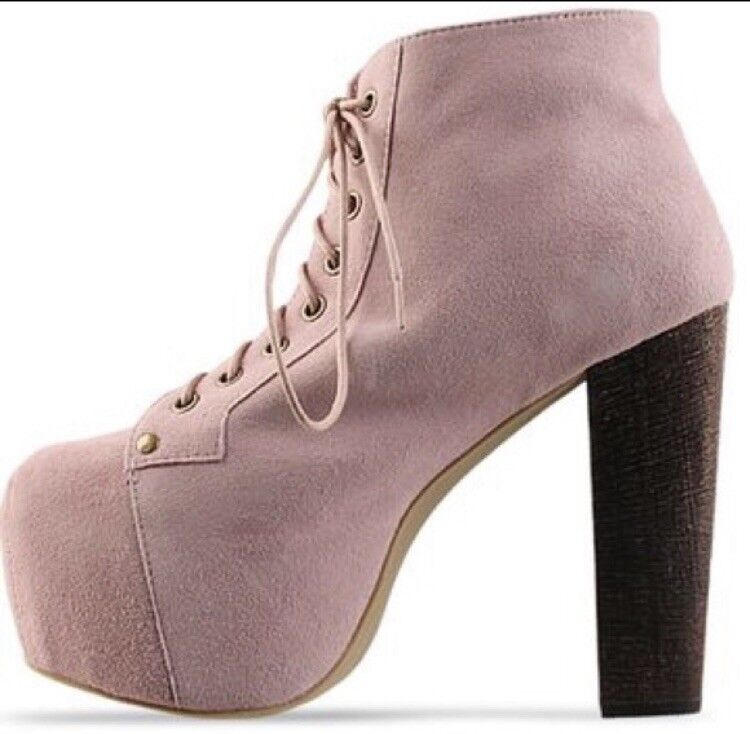 Jeffrey Campbell Pink Suede Lita Ankle Boots Lace Up 8