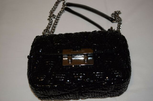 a6a269ec048a Michael Kors Sloan Sequined Quilted Small Chain Shoulder Bag Leather ...
