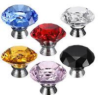 Chic 40mm Crystal Glass Cabinet Knob Diamond Shape Drawer Cupboard Handle Pull