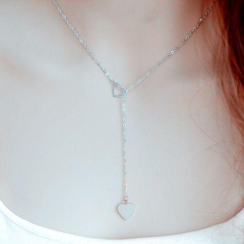 Y-Kette Herz Kette Halskette mit Anhänger Collier silber Herzkette Damenkette