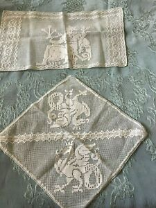 Two-Beautiful-Vintage-Handmade-Filet-Lace-Doilies