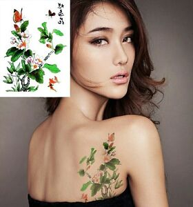 Butterfly Flowers Chinese Tree Temporary Tattoo Sticker 3D Body Art Tattoos