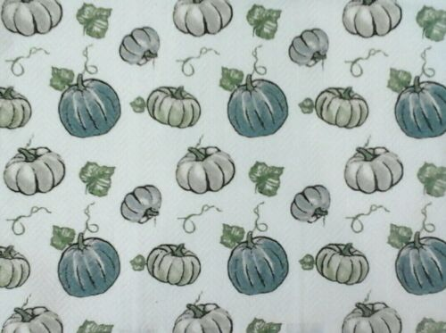 Double hanging kitchen towel fall  leaves pumpkins leaves crocheted blue top