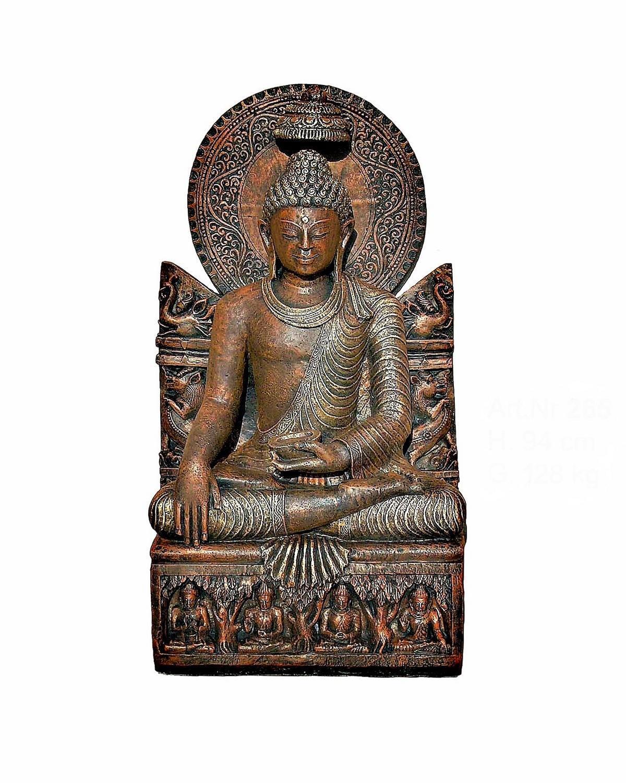 XXL Thai Buddha Teelichthalter Bronze Optik Gartenfigur Feng Shui H  96cm Statue