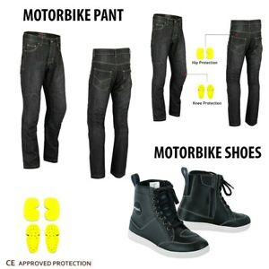 NEW-Motorcycle-Jeans-Pant-Reinforced-Denim-Motorbike-Leather-Boots-Waterproof