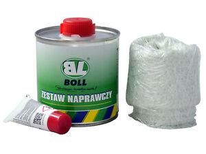 NEU-BOLL-REPARATUR-SET-GFK-BOX-Polyesterharz-250gr-GLASFASERMATTE-HARTER