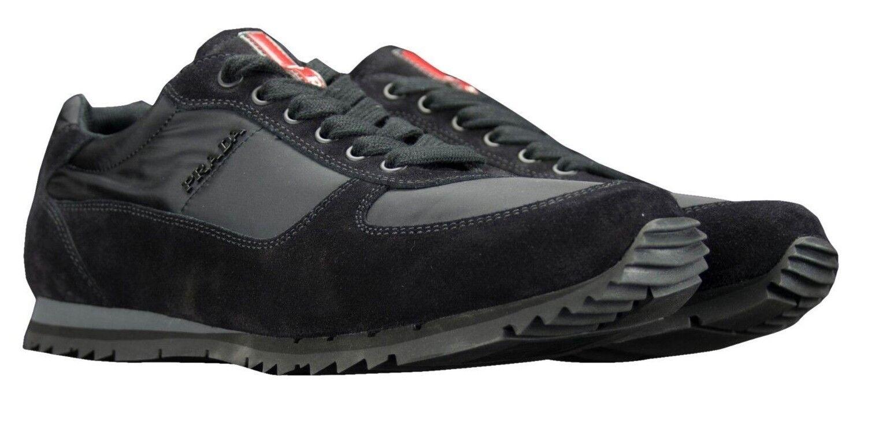 PRADA scarpe 4E2721 nero New Mens scarpe da ginnastica Suede Nylon Dimensione 11.5 UK (45.5)