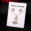 Chic-Luxury-Women-Rose-Gold-Crystal-Necklace-Ring-Earring-Jewelry-Gift-Sets-HOT miniatura 3