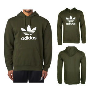 Adidas-Men-039-s-Trefoil-Logo-Graphic-Pouch-Pocket-Pullover-Hoodie