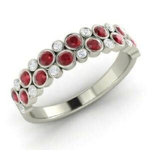 1.00 Ct Round Cut Diamond Engagement Ruby 14K White Gold Finish Eternity Band