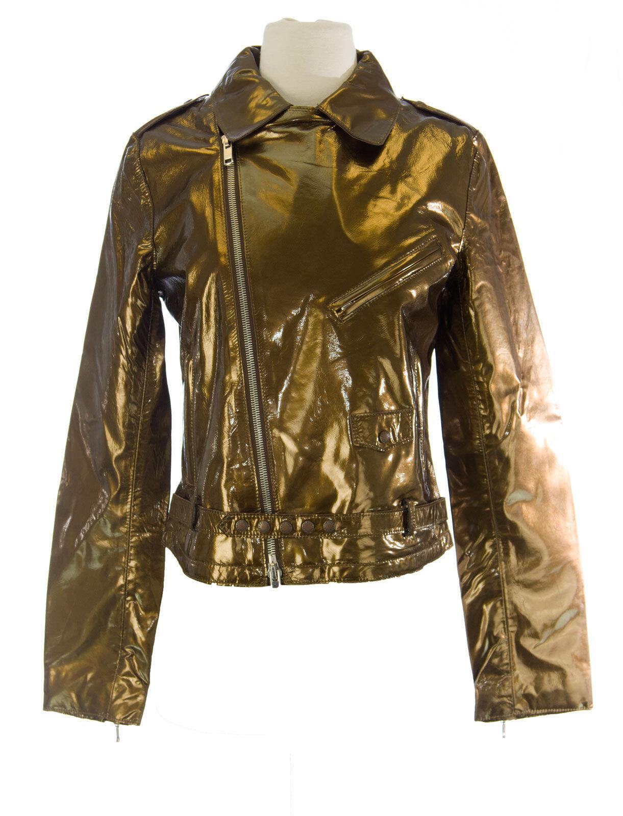 Custo Barcelona Damen Perfecto Gold Diagnal Reißverschluss Jacke R793004 Nwt