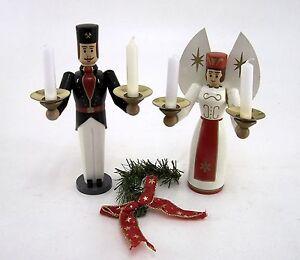 Engel-und-Bergmann-Holz-14-amp-11-cm-Weihnachtsfiguren-Vintage