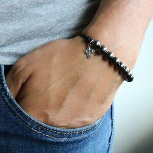 Rosary-Bracelet-Black-Handmade-Paracord-Gunmetal-Plated-Beads-Pendant-Catholic