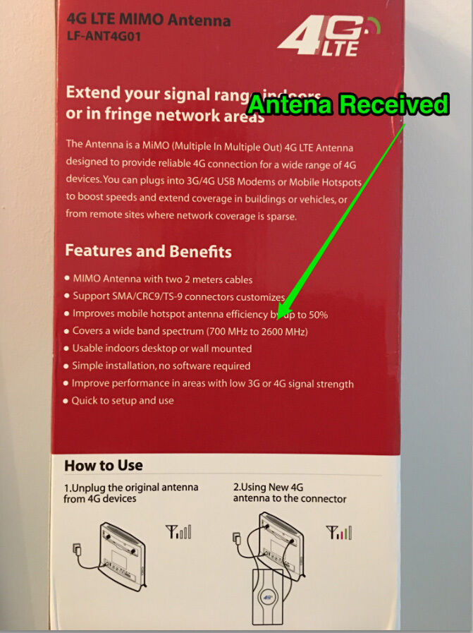 Details about 49DBI LTE MIMO 3G 4G Antenna 2xTS9 SMA CRC9 Ultra-high Gain  for Huawei /ZTE New