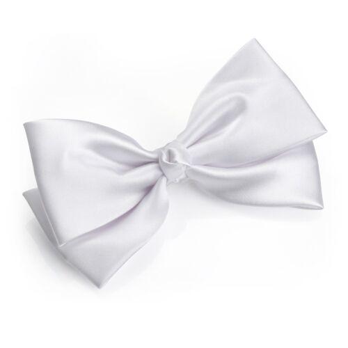 White Satin Hair Bow-Clip Silk-Ribbon-Large 14 cm wide Party hair bow wedding