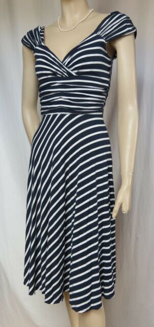 Jerseykleid Laura Ashley 40 blau weiß Streifen maritim Sommerkleid Urlaub