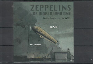 Gambia 2014 MNH Zeppelins of World War I WWI 100th 1v S/S L3 Zeppelin Stamps