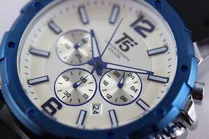 Herrenuhr-Chronograph-T5-Sports-Time-46mm-Datum-Lederarmband-Neu-mit-Uhrenbox