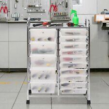 15 Drawers Rolling Storage Cart Tools Scrapbook Cosmetics Paper Organizer Home