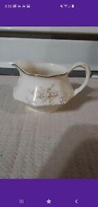 Vintage-Porcelain-Creamer-Pitcher-Floral-with-Gold-Trim-Hand-Painted