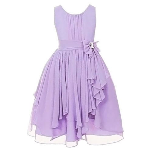Kids Girls Party Princess Pageant Bow Chiffon Gown Plain Tutu Dress Wedding Prom