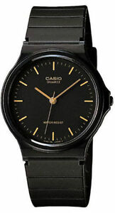 Casio-MQ24-1E-Men-039-s-Analog-Watch-Black-and-Gold-Indices-Resin-Classic-New