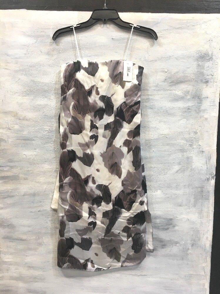 NEW  HELMUT LANG F04HW602 'Crypsis' Strapless Print Silk Dress, 2 - schwarz Multi