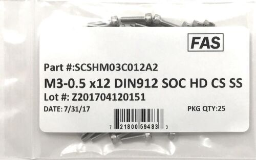 M3-0.5 x 12 Stainless Steel Socket Head Socket Cap Screws DIN912 M3x0.5x12 25