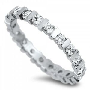 925-Sterling-Silver-Eternity-1-80ct-Simulated-Diamond-Size-9-Wedding-Band-S78