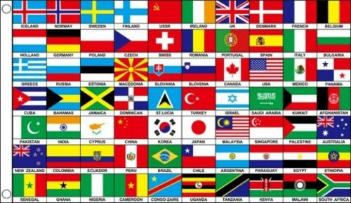 70 Nations Flag 5 x 3 FT Countries Of The World Europe Asia Africa International