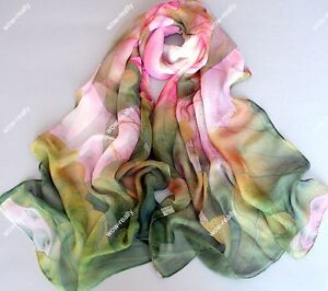 New-Green-Georgette-Chiffon-Spring-Scarf-Art-Painting-Big-Pink-Lotus-Flowers