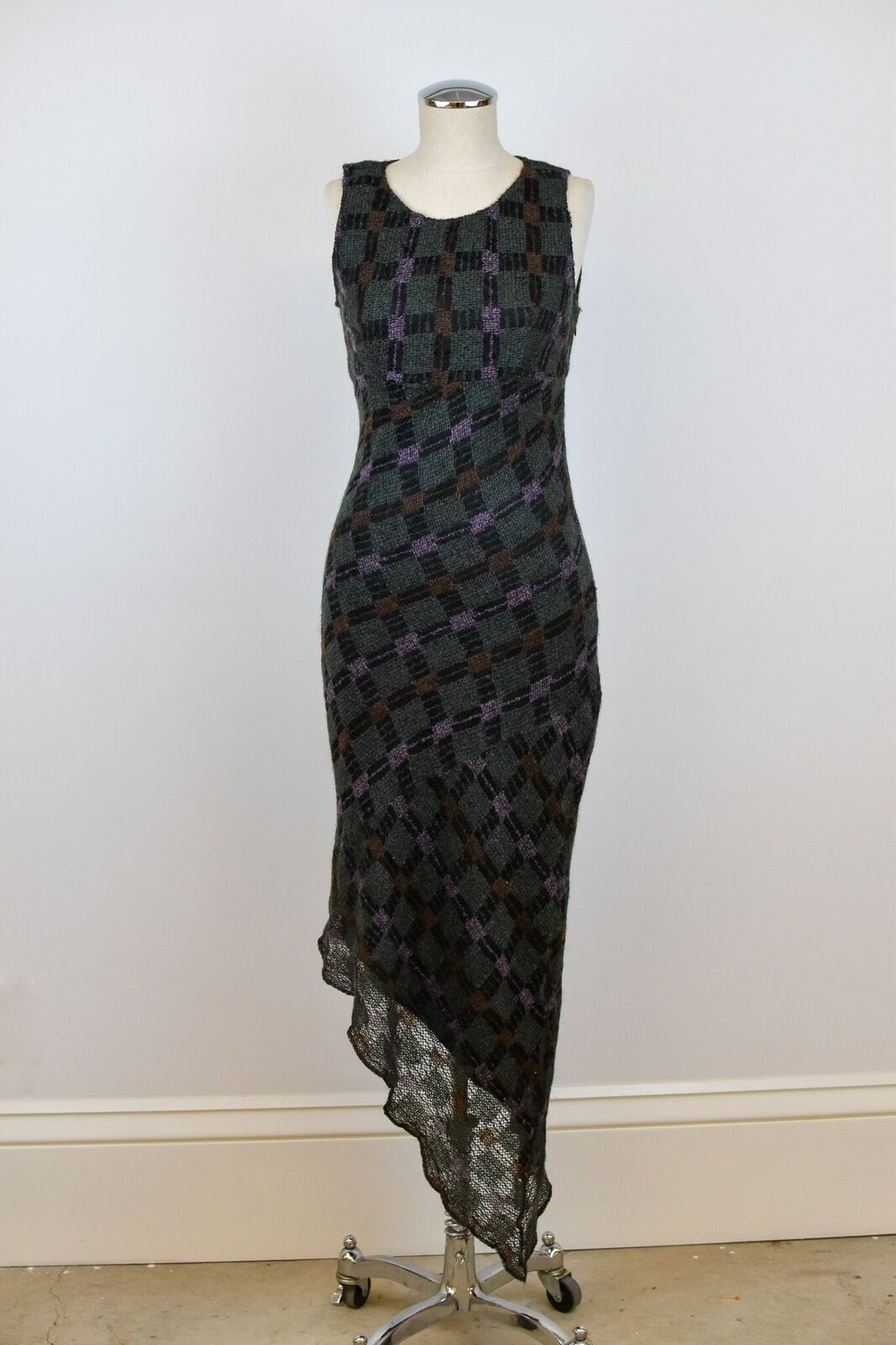 1990's Vintage Anna Sui Checkered Mohair Dress - image 3