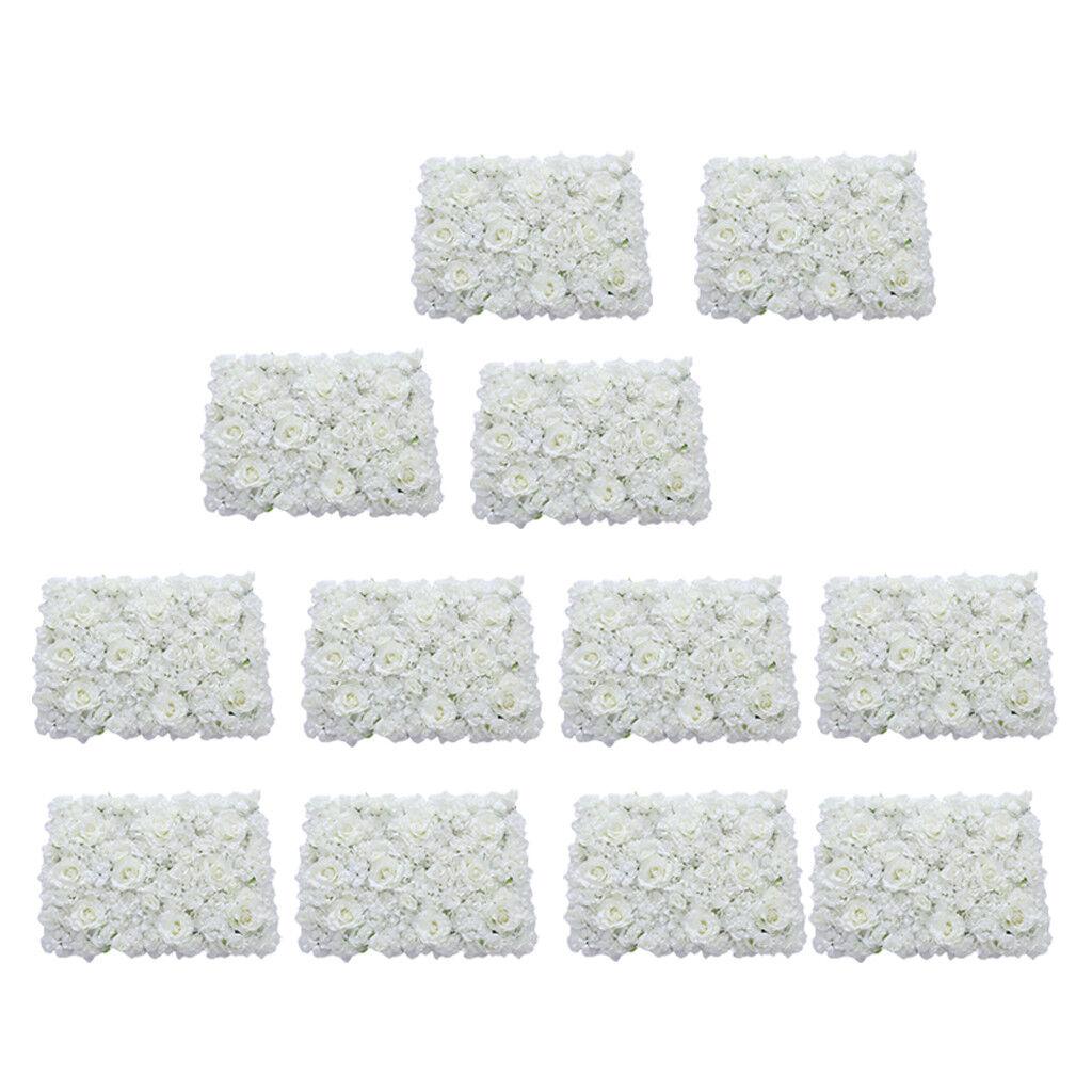 12pcs Mariage Soie Artificielle Fleur panneaux muraux Blanc 60 x 40 cm
