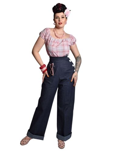 Vintage High Waisted Trousers, Sailor Pants, Jeans    1940s style Vivien of Holloway Blue Denim Swing Trousers Rockabilly Pin-Up £79.00 AT vintagedancer.com