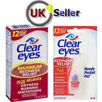 CLEAR EYES MAXiMUM REDNESS  RELIEF LUBRICATING EYE DROPS DRYNESS BURNING 6-15ML