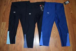 UNDER-ARMOUR-Black-Blue-Gray-Compression-Capris-Leggings-Sz-M-Medium-NWT-Womens