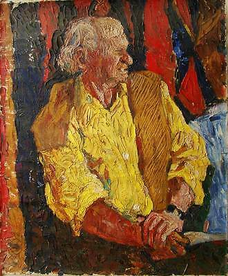 Russian Ukrainian Soviet Oil Painting male portrait man nonconformism rare 1960s