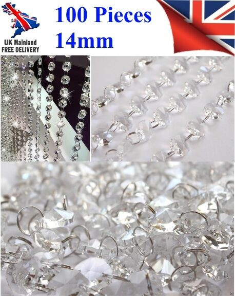 100 CHANDELIER LIGHT CRYSTALS DROPLETS GLASS BEAD WEDDING DROPS 14MM PRISM PARTS