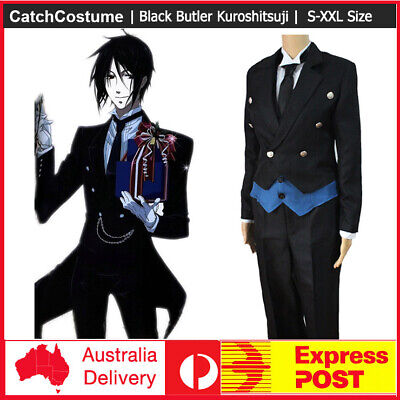 Black Butler Sebastian Michaelis Butler Outfit Cosplay Costume Full Set FREE P/&P
